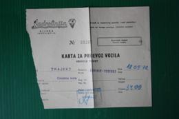 BIGLIETTO TRAGHETTO SPLIT-HVAR - 1972 - Billets D'embarquement De Bateau