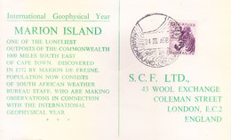 SOUTH AFRICA 1958 FIRST DAY COVER - MARION ISLAND - INTERNATIONAL GEOPHYSICAL YEAR - South Africa (...-1961)