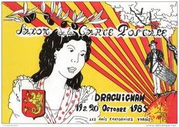 VAR  83 DRAGUIGNAN  1985 ILLUSTRATEUR ROBERT FARABOZ AVEC LE TAMBOURINAIRE ET LES COULEURS DE LA PROVENCE - Collector Fairs & Bourses