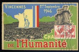 Cpa Du 94 Vincennes Fête Champêtre De L' Humanité Le 1er Septembre 1946 Avec Cachet Postal Du Jour    JIP78 - Vincennes