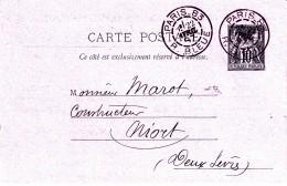 60 PARIS 83 R. BLEUE - Type Sage Sur Entier - 1887 - 1877-1920: Periodo Semi Moderno