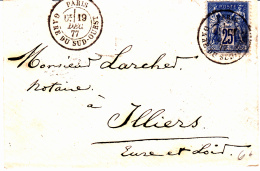 60 PARIS GARE DU SUD OUEST - Type Sage Sur Enveloppe - 1877 - 1877-1920: Periodo Semi Moderno