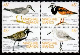 1989, Marshall Islands, Scott #222-225, Migrant Birds, Block Of 4,  MNH, VF - Marshall Islands