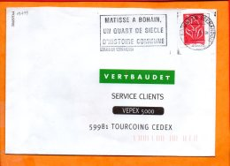 """AISNE, Bohain En Vermandois, Flamme N° SCOTEM 19499, """"Matisse à Bohain"""" - Marcophilie (Lettres)"""