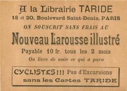 PUBLICITE A LA LIBRAIRIE TARIDE 18 ET 20  BD SAINT DENIS  PARIS - Pubblicitari