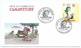 Fête Du Timbre 2001  - Franquin Gaston Lagaffe Voiture Agent Cabine Téléphonique - 03 Montluçon - 15/03/2002 - 2000-2009