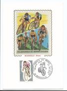 Championnats Du Monde Cycliste - Marseille Piste 1972 - Carte Tissu Soie Signée Chesnot - 1er Jour 22/7/1972 - Radsport