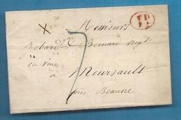 Seine Inférieure - Rouen Pour Meursault Par Beaune (Cote D'Or) - Marcophilie (Lettres)