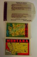 2 Vieilles Cartes Montana Et Washington USA, Decalque Pour Valise De Voyages Et Feuillet D'instruction - 4 Scans - Cartes Routières