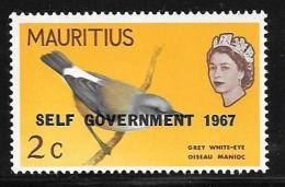 Mauritius, Scott # 306 Mint Hinged Bird, Overprinted, 1967 - Mauritius (1968-...)