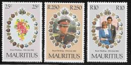 Mauritius, Scott # 520-2 MNH Royal Wedding, 1981 - Mauritius (1968-...)