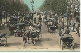 75 PARIS BOULEVARD Poissonniere TRES ANIMEE CHEVAUX CALECHES  Vieux Tacots CARTE COLORISEE - Sonstige