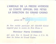 L'AMICALE DE LA PRESSE HYEROISE LE COMITE OFFICIEL DES FETES LA DIRECTION DU GRAND CASINO-GRAND GALA Années 1970 Environ - Kaarten