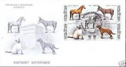 Albania Stamps 2001. Domestic Animals - Cat, Dog, Horse, Donkey. 2813-2816. FDC Set Sheet MNH. - Albania