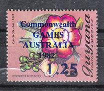 "Guyana   -   1982. Fiore. Flower  Ovpt. "" Commonwealth Games AUSTRALIA   1.25 ""  .  MNH - Francobolli"