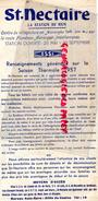 63 - SAINT NECTAIRE - DEPLIANT TOURISTIQUE LA STATION DU REIN- 1957- LISTE VILLAS ET APPARTEMENTS MEUBLES-HOTELS - Dépliants Touristiques