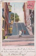 Carte Postale Ancienne,amérique,CANADA,QUEBEC,il Y A 100 Ans,escalier,cycliste - Quebec
