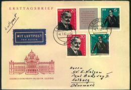 1962, Dimitroff Im Zdr. Streifen Und 2 Einzelwerte Portogerecht Auf Luftpost-Auslandsbrief - DDR