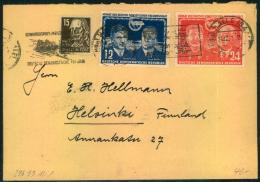1951, Auslandsbrief (+1 Pfg. ) Mit SSt HALLE (SAALE) Wintersportmeisterschaften Nach Finnland. - DDR