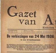 Journal Ancien GAZET VAN AUDENAERDE 1936 Recto Verso Resultat Election Provinciale Du District - Journaux - Quotidiens