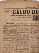 Journal Ancien Catholique L'ECHO DE RENAIX Ronse Chanoine Puissant La Commune 29 Janvier 1911 - Journaux - Quotidiens