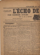 Journal Ancien Catholique L'ECHO DE RENAIX Ronse Succès Catholique Election Du 22 Octobre 1911 Résultat Officiel - Journaux - Quotidiens