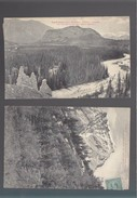 Canada - Alberta -  Lot De 2 Cartes - On The Line Pacific Railway - Banff Hotel From Hoodoos + Peak Of Cascade Mountain - Alberta