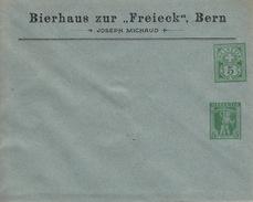 2 Ganzsachen, 2 Entier Postaux,  Bierhaus Zu Freieck, Bern, 5 C. + 5 C. + 5 C. + 10 C.