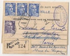 TROUVILLE SUR MER, Calvados Sur Recommandé Au Type GANDON. - Postmark Collection (Covers)