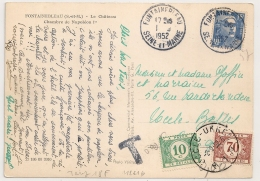 TAXE BELGE 0F80, FONTAINEBLEAU Seine Et Marne Sur 15F GANDON Pour La BELGIQUE. - Postmark Collection (Covers)