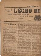 Journal Ancien Catholique L'ECHO DE RENAIX Ronse 12 Janvier 1913 Syndicat Neckebroeck Question Des Cinémas - Journaux - Quotidiens