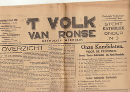 Journal Ancien Catholique 'T VOLK VAN RONSE Renaix  élection De 1936 Rexiste Liberaux Nationalistes 6 Juin - Journaux - Quotidiens