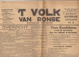 Journal Ancien Catholique 'T VOLK VAN RONSE Renaix  30 Mai 1936 élection Commentaires Et Résultats Rexiste - Journaux - Quotidiens