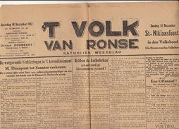 Journal Ancien Catholique 'T VOLK VAN RONSE Renaix  10 Décembre 1932 Thienpont Senateur Election Resultat Province 4 Déc - Journaux - Quotidiens