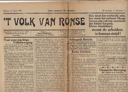 Journal Ancien Catholique 'T VOLK VAN RONSE Renaix 27 Avril 1919 Prisonniers De Guerre Morts Pendant Et Après Le Retour - Journaux - Quotidiens