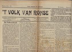 Journal Ancien Catholique 'T VOLK VAN RONSE Renaix 25 Mai 1919 Volkerenbond  De Kamers ... - Journaux - Quotidiens