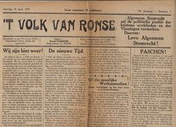 Journal Ancien Catholique 'T VOLK VAN RONSE Renaix 19 Avril 1919 - Journaux - Quotidiens