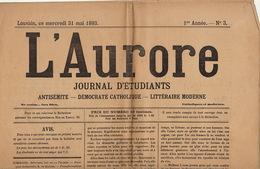 Journal Ancien Etudiant Université De Louvain L'AURORE Du 31 Mai 1893 Antisémite Catholique - Newspapers