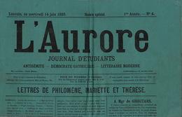 Journal Ancien Etudiant Université De Louvain L'AURORE Du 14 Juin 1893 Antisémite Catholique N° Spécial - Journaux - Quotidiens