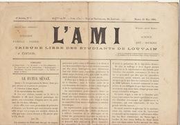 Journal Ancien Etudiant Université De Louvain L'AMI Du 23 Mai 1893 - Journaux - Quotidiens