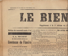 Journal Ancien LE BIEN PUBLIC 27 28 Novembre 1912 Comtesse De Flandre Comte Verspeyen Guerre Des Balkans ... - Journaux - Quotidiens