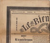 Journal Ancien LE BIEN PUBLIC 27 Novembre 1912 Mort Du Comte De Verspeyen Comtesse De Flandre Balkans - Journaux - Quotidiens