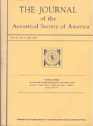 The Journal Of The Acoustical Society Of America, VOL. 103, NO. 4, APRIL 1998 - Medical/ Nursing