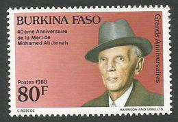 Burkina Faso 1988 Mohammed Ali Jinnah 40th Death Anniversary Michel 1190 Mint - Burkina Faso (1984-...)