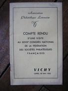 """1955 """"ASSOCIATION PHILATELIQUE LIMOUSINE """",VICHY,VISITE  XXVIII CONGRES  FEDERATION SOCIETES PHILATELIQUES FRANCAISE - Autres Livres"""