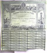 Rare SOCIETE FONCIERE DE SYRIE - Paris 1925 -  ACTION DE CINQ CENTS FRANCS  Et Ses COUPONS -Belle Lithographie L.LECLERC - Banque & Assurance