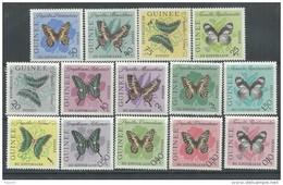 Guinée  N° 146 / 59 XX  Papillons Divers, Les 14 Valeurs Sans Charnière, TB - Guinea (1958-...)