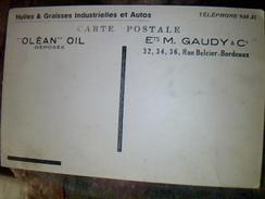 Cp Vierge A Dos Publicitaire Olean Oil Graisse Auto  Ets Gaudy A Bordeaux Les Pyrenees Illustrees Hotel .. A Argeles ... - Publicidad