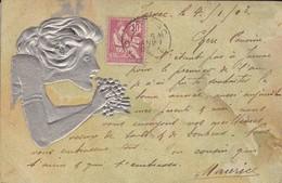 Illust.  R. KIRCHNER  ?---JEUNE FEMME Avec Grappe De Raisin---(style Art Nouveau)--Gaufrée Argentée---voir 2 Scans - Kirchner, Raphael
