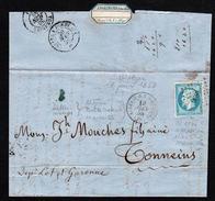 FRANCE MARITIME (lettre) Timbre N°14 (II)obl PC 1896  En Transit à Marseille,... - Maritime